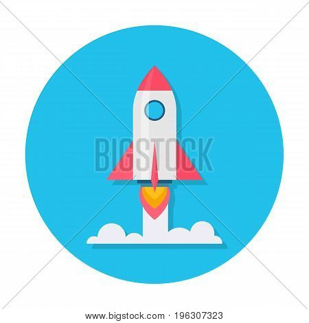 Rocket flat icon. Rocket launch, takeoff phase of the flight icon, new venture or project, start up, innovative plan. Cartoon illustration in rounded shape. Business success concept