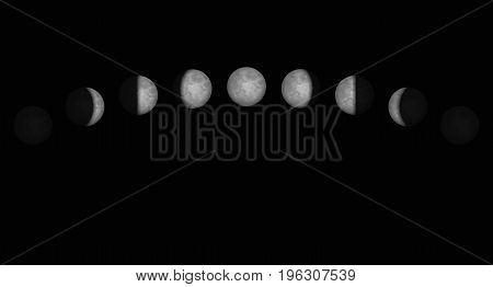 Time lapse of the moon phases - different shapes of illuminated portions seen from the northern hemisphere of planet earth. Vector illustration on black background.
