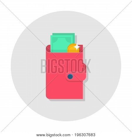 Flat wallet icon. Pink wallet with cash and coin. Internet sign in rounded shape. Web and mobile design element. Money symbol. Vector colored illustration.