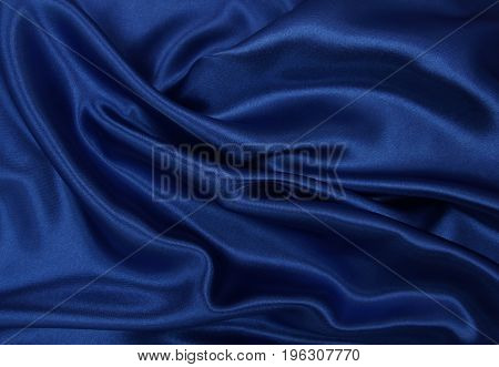 Smooth Elegant Blue Silk Or Satin Luxury Cloth Texture As Abstract Background. Luxurious Background
