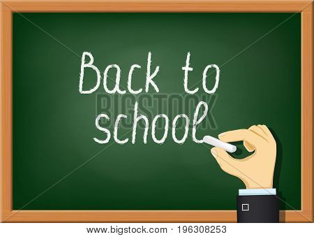 Teacher is writing chalk on the blackboard. Back to school. Stock Vector cartoon illustration.