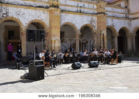 Tomar Portugal - June 4 2017: Amateur concert of symphonic music in Dom Joao III Cloister (Renaissance masterpiece) in the Templar Convent of Christ in Tomar