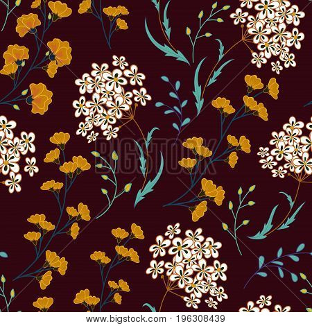 Cute Floral pattern in the small flower. Motifs scattered random. Ditsy print. Seamless vector texture. Printing with small colorful flowers. White orange plants on vinous background.
