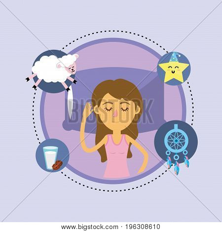 woman sleeping and taking good night vector illustration