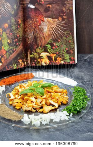 mushroom on a plate background cook book