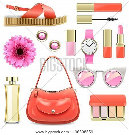 Vector Fashion Accessories Set 7 isolated on white background