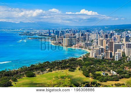 Honolulu Hawaii.Skyline of Honolulu Hawaii and the surrounding area including the hotels and buildings on Waikiki Beach.