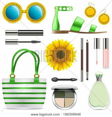 Vector Fashion Accessories Set 8 isolated on white background