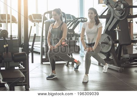 Young female friends exercise in the gym, workout