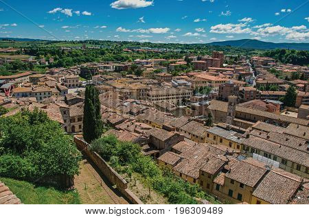 Panoramic view of the newest part of the town of Colle di Val d'Elsa. A graceful village with its historic center preserved and famous for its crystal production. Located in the Tuscany region