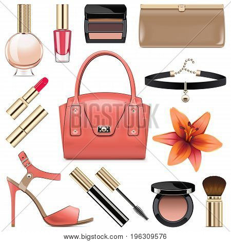 Vector Fashion Accessories Set 9 isolated on white background