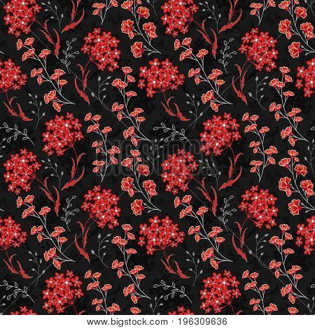 Hand drawn Floral pattern. Seamless vector texture. Elegant template for fashion prints. Surface with meadow flowers and herbs. Dark red and black background