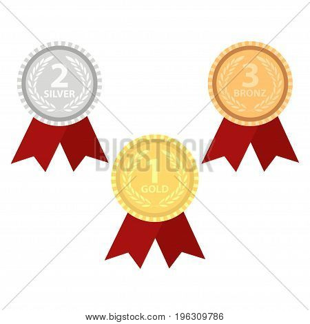 Champion gold, silver and bronze award medals with red ribbons. Vector illustration