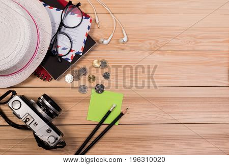 Close Up Of Preparing Traveler's Accessories To Travel Vacation Items, Travel Concept Background. Jo