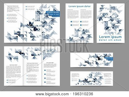 Set of color abstract brochure with geometric elements