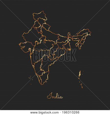 India Region Map: Golden Gradient Outline On Dark Background. Detailed Map Of India Regions. Vector