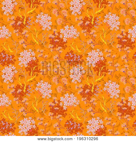 Hand drawn Floral pattern. Seamless vector texture. Elegant template for fashion prints. Surface with meadow flowers and herbs. Bright orange background