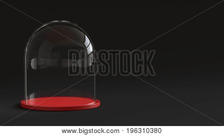 Glass dome with red tray on dark background. 3D rendering.