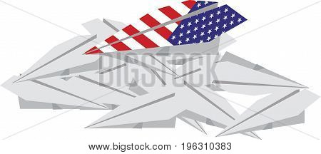 American paper plane over others American paper plane over others