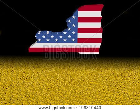 New York map flag with dollar coins foreground 3d illustration