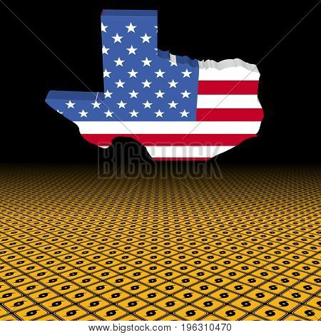 Texas map flag with hurricane warning sign foreground 3d illustration