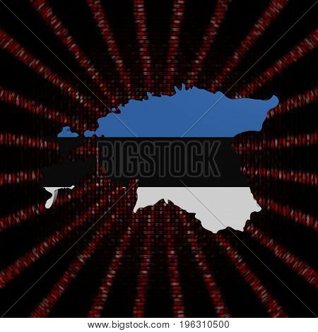 Estonia map flag on red hex code burst 3d illustration