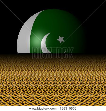 Pakistani flag sphere and radioactive warning signs 3d illustration