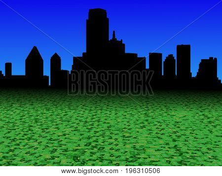 Dallas skyline with abstract dollar currency foreground 3d illustration