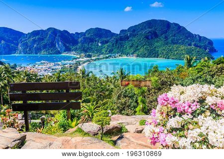 Thailand Koh Phi Phi island Krabi province. View from belvedere point.
