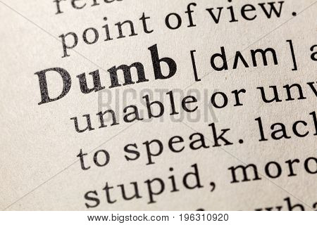 Fake Dictionary Dictionary definition of the word dumb. including key descriptive words.