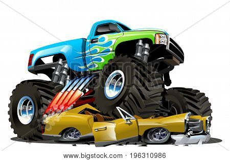 Vector Cartoon Monster Truck. Available EPS-10 separated by groups and layers with transparency effects for one-click repaint