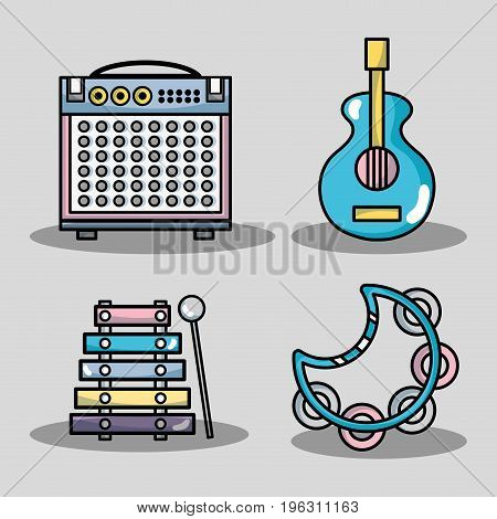 set technology music elements to lay music vector illustration