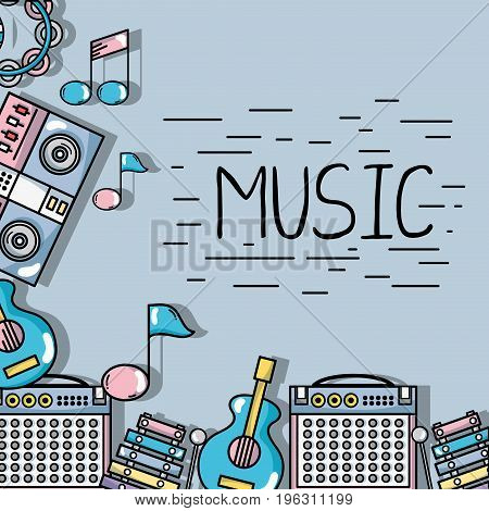 music elements to play harmony rhythm vector illustration