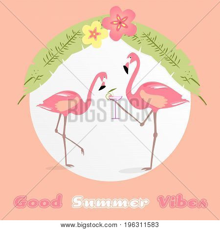 Summertime. Good vibes only with two flamingos and a cocktail in trendy colors.