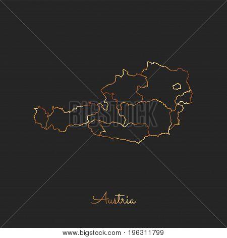 Austria Region Map: Golden Gradient Outline On Dark Background. Detailed Map Of Austria Regions. Vec