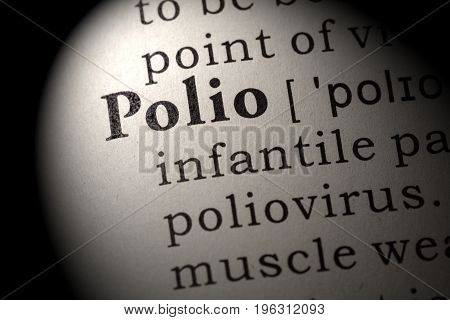 Fake Dictionary Dictionary definition of the word Polio. including key descriptive words.
