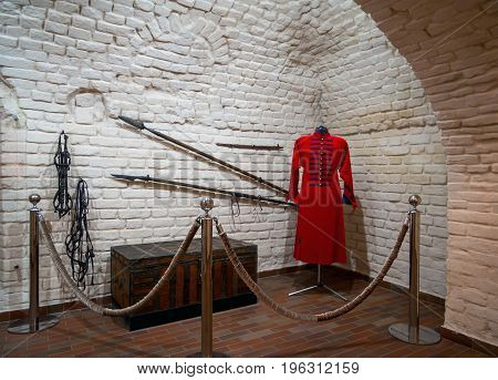 Novozhivotinnoe, Russia - May 26, 2017: Ancient caftan chest and weapons