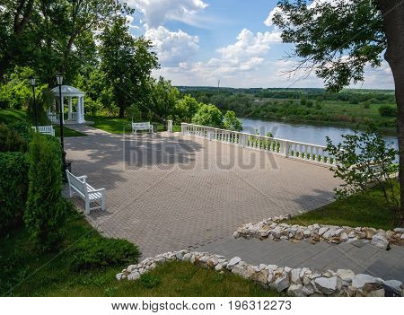 Novozhivotinnoe, Russia - May 26, 2017: Observation site on the bank of the Don River in the park of the estate of D. Venevitinov