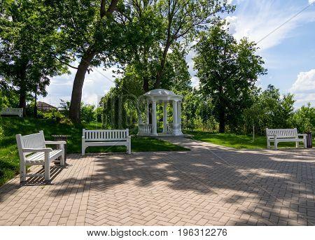Novozhivotinnoe, Russia - May 26, 2017: Fragment of the observation platform in the park of the estate of D. Venevitinov
