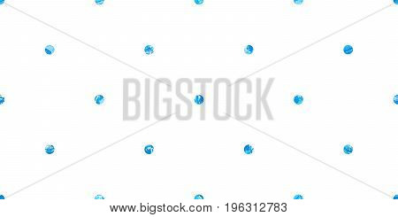 Dots Pattern. Blue background. Grunge painted texture. Artistic round design elements. Messy brush strokes, strict geometric shape. Fashion textile, dotted fabric print, wallpaper. Vector illustration