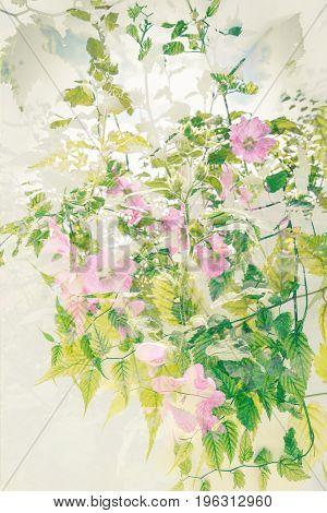 Beautiful Summer vintage artistic background with flowers and leaves