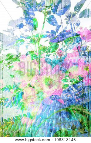 Beautiful artistic background with leaves and flowers