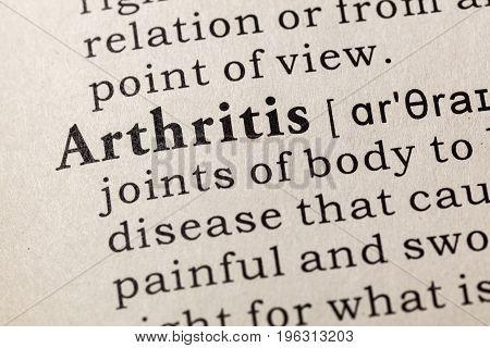 Fake Dictionary Dictionary definition of the word Arthritis. including key descriptive words.