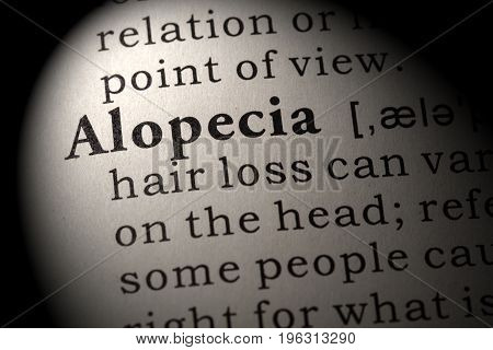 Fake Dictionary Dictionary definition of the word Alopecia. including key descriptive words.