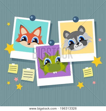 Photo frame set hanging on a clip. With lovely faces of cartoon animals. Retro vintage style. Realistic detailed photo icon design template.
