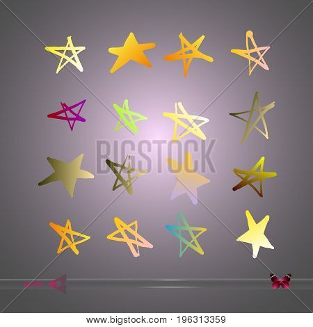 Hand-drawn vector star. Set of abstract stars. Doodle style. Design drawn stars background. Object on white background