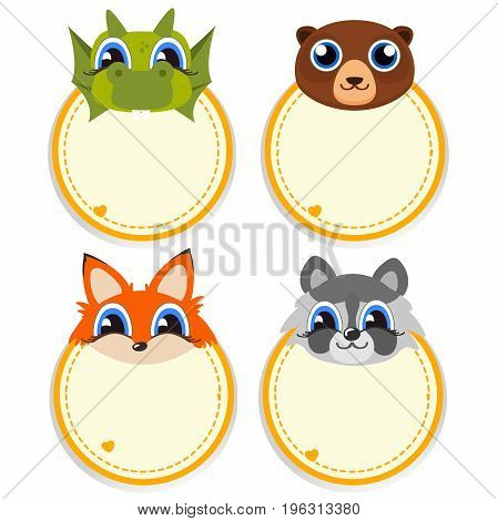 Children s photo framework with lovely faces of cartoon animals. Vector illustration.
