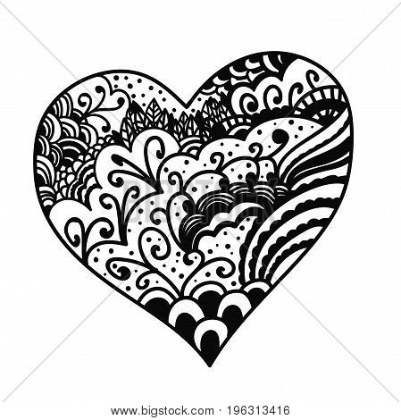 Hand drawn vector doodle heart isolated on white background.