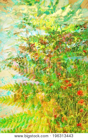 Beautiful Summer floral artistic background with flowers and leaves
