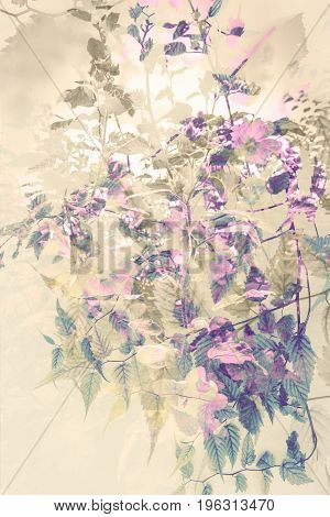 Artistic floral background with subtle pink flowers